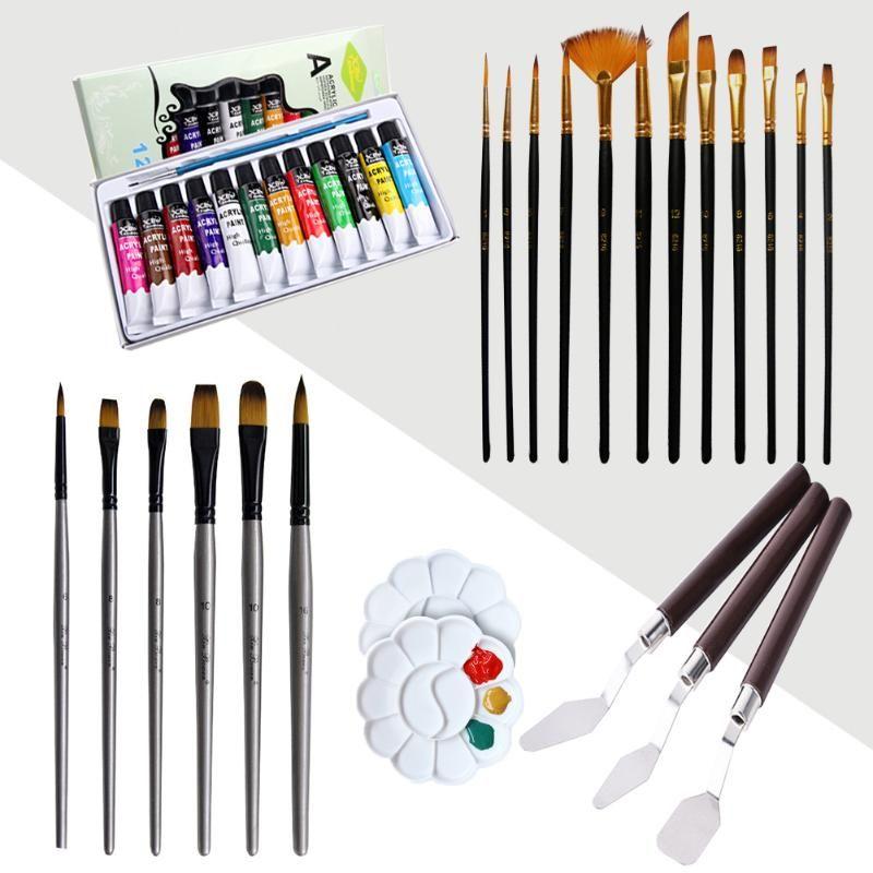 12x черный Акварель кисть + 6x серебро Кисть + ая Приправа лоток нож 3x палитра 12 цветов Пигмент Картины комплект
