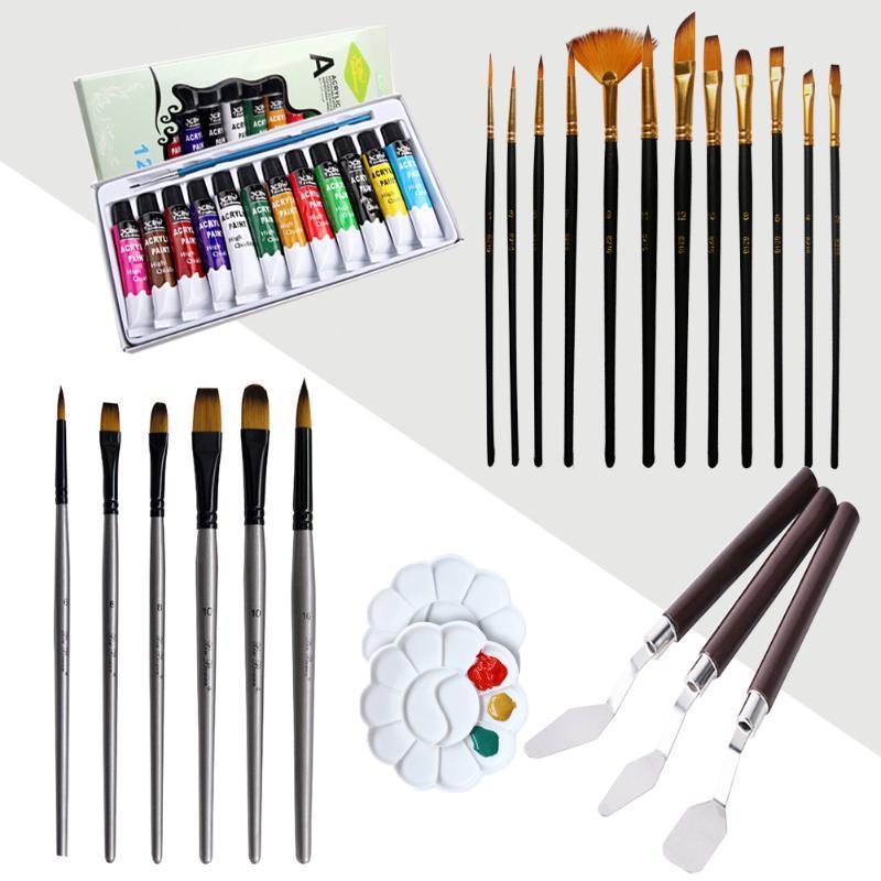 12x Noir Pinceau aquarelle + 6x Argent Brosse + 2x Assaisonnement Plateau couteau 3x Palette 12 Couleurs Pigment Kit peinture