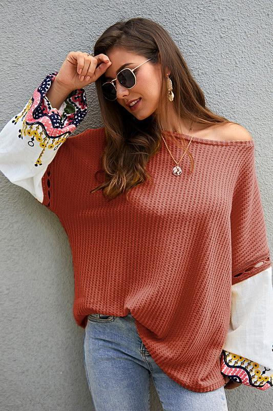 Frauen tragen gestrickte Pullover off-Schulter stricken Langarm-Shirt T-Shirt Tops Clubwear K23 Oberbekleidung Frühling Sommerkleidung Strick
