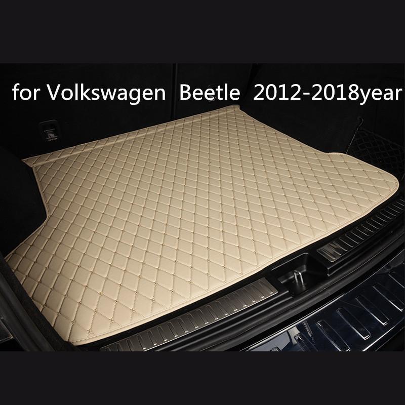 cuero del coche estera tronco alfombra del piso de encargo antideslizante adecuado para Volkswagen Escarabajo estera 2012-2018year coche antideslizante