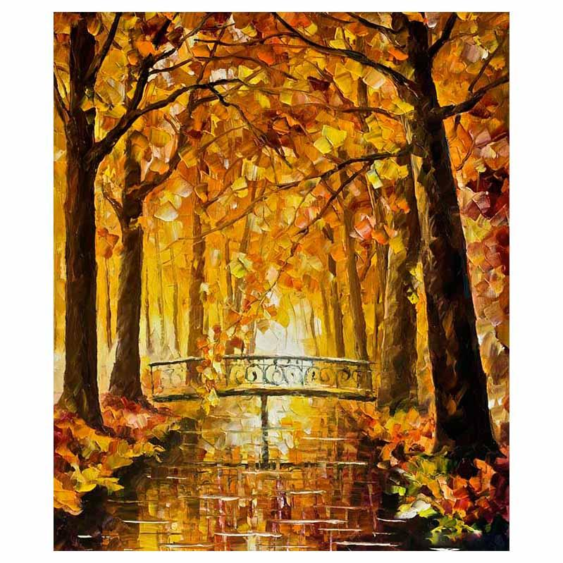 """36""""x48"""" Red leaf tree hand drawn canvas oil painting autumn forest sofa background wall painting staircase porch decorative painting"""