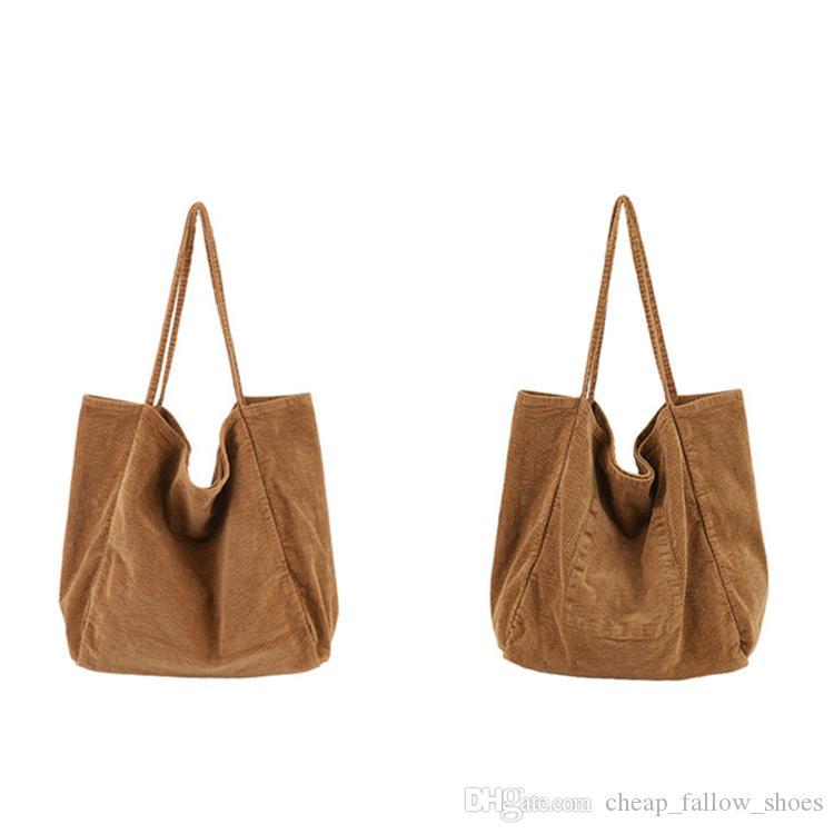 Mode sac à main sacs à bandoulière de haute qualité original grande capacité sac à bandoulière en tissu de velours côtelé pliant réutilisable sacs à provisions