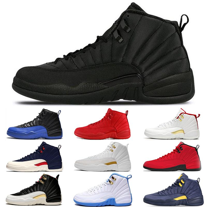 Дешевые ФИБА 12 12s Баскетбол Обувь Мужчины Игра Королевский Тренажерный Зал Красный Белый Быков Гриппа Игра Мичиган дизайнер мужские кроссовки Спортивные кроссовки размер 40-47