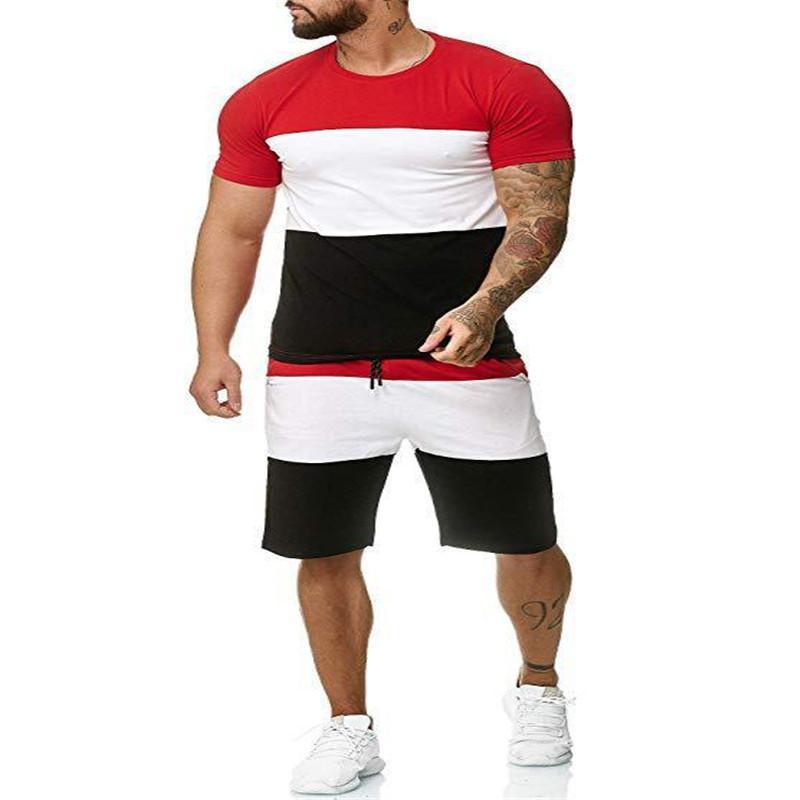 Summer Mens Designer Survêtements contraste couleur court T-shirts Costumes Hommes Casual Vêtements pour hommes 2 pièces ensemble