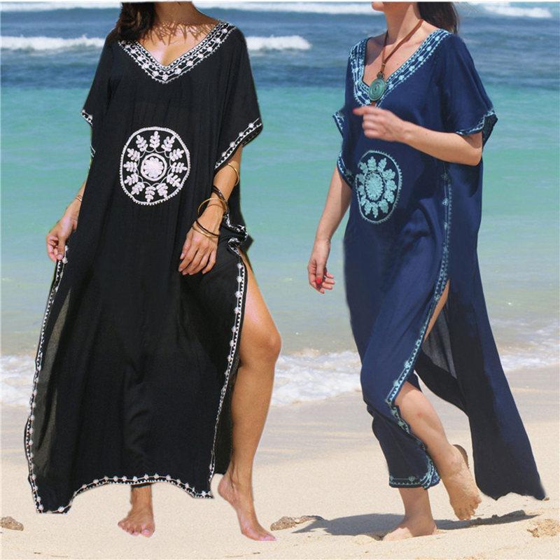 Noir Indie Folk Imprimé Col En V Demi-Manches Côté Split Cheville Longueur Femmes Été Caftan Beach Wear Robe En Coton, Plus La Taille N643 Y19052803