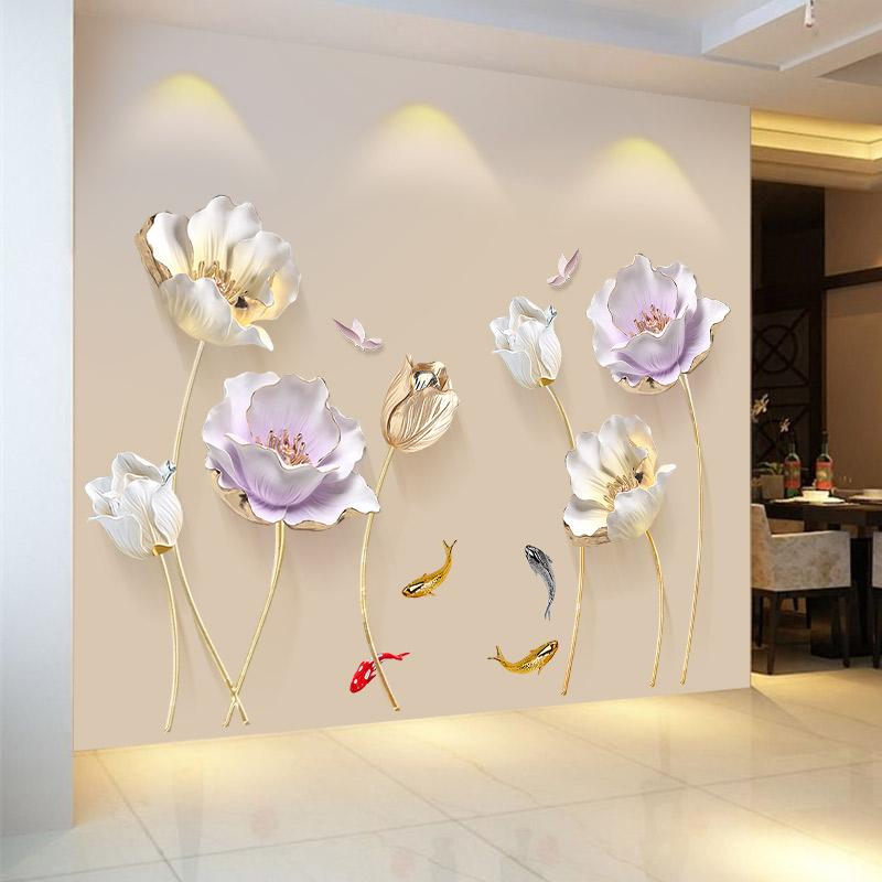 Chinese Style Flower 3D Wallpaper Wall Stickers Living Room Bedroom Bathroom Home Decor Decoration Poster Elegant