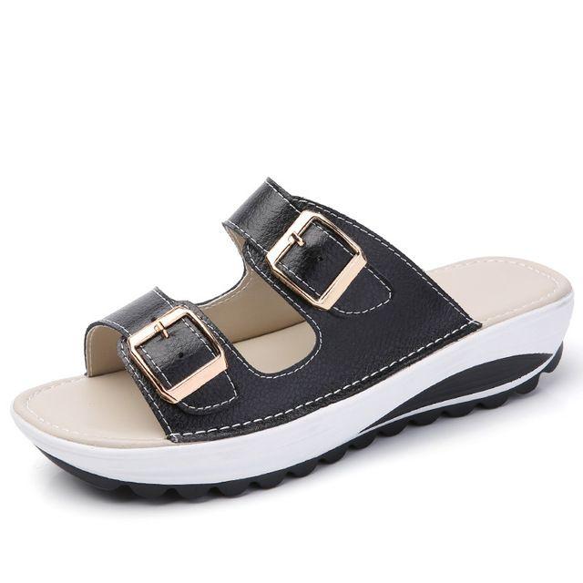 Women Buckle Sandals New Thick Leather Shoes Woman Platform Summer Women Bright Open Toe Beach Sandals Ladies Shoes