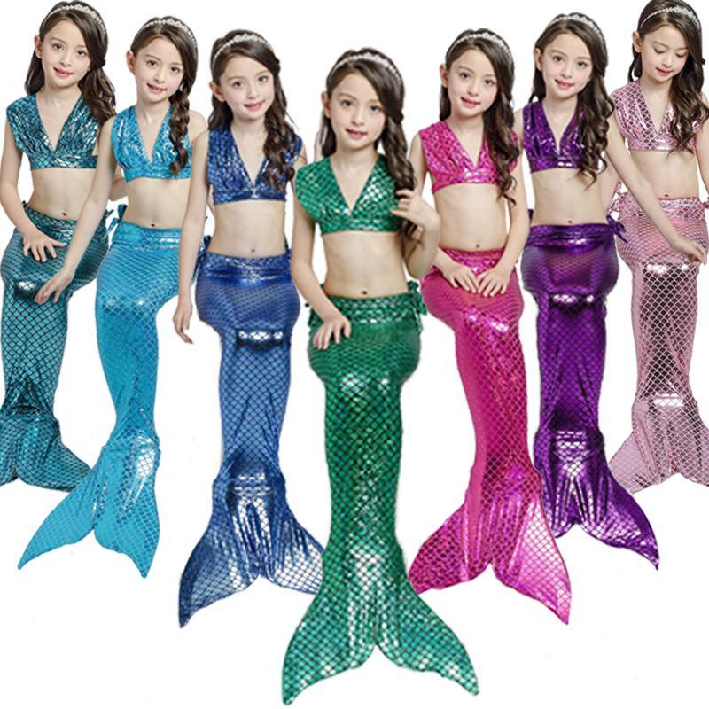 Cosplay halloween Mermaid costume Swimsuit 3PCS Kids Mermaid Tail Costume Children Fancy Tails Bikini Swim suit