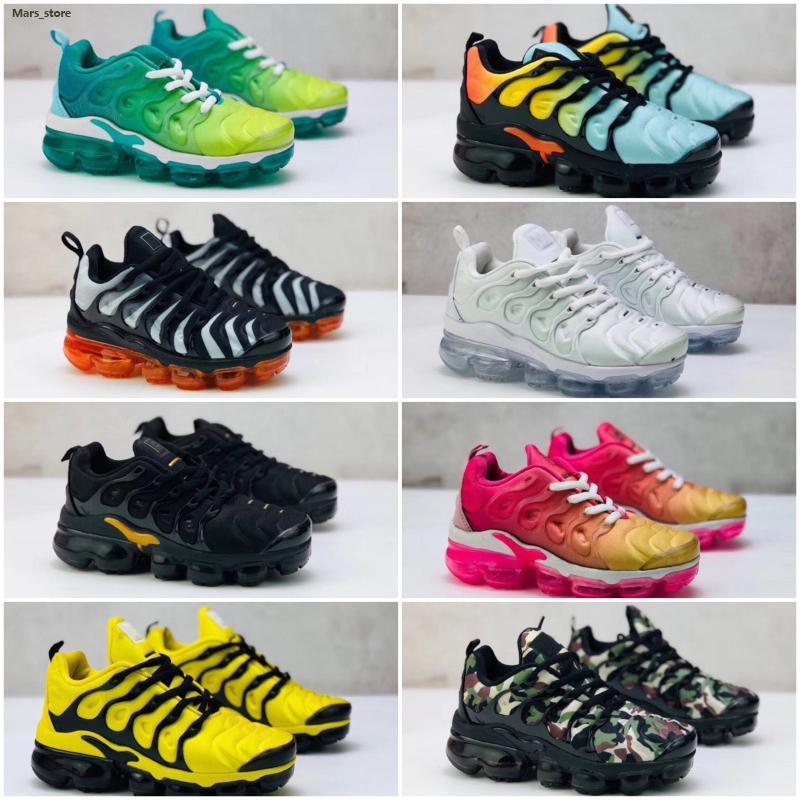 Nike Air TN Plus 2018 Yeni Ucuz TN erkek kız çocukları Siyah Kırmızı Beyaz TN Yastık yüzey spor ayakkabısı Eğitmen sıcak satış Ayakkabı için Ayakkabı Koşu