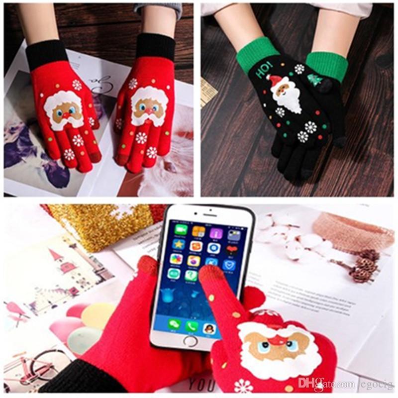 Guanti touch screen di Natale maglia di lana gioco guanti esterni signore calde stampano guanti tocco dello schermo del fumetto di trasporto 2 di colore LIBERO