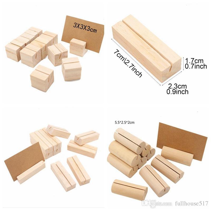 Holz Kartenhalter-Namen-Platz-Karte Fotomenü Halter Anzahl Clip Ständer Schreibtisch-Accessoires Party Hochzeitsdekoration