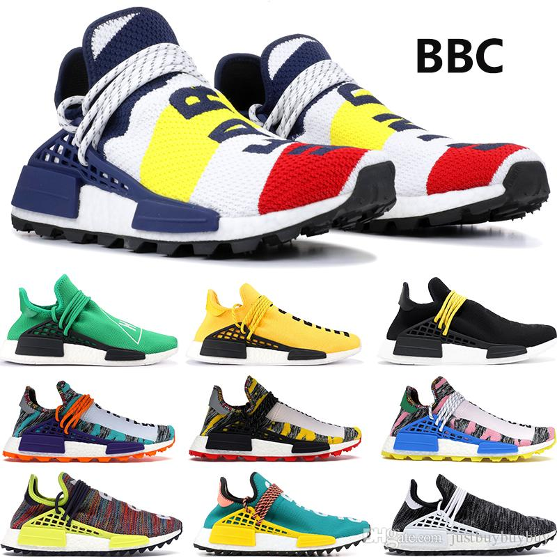 BBC Multi Color NMD Human Race stylist Shoes For Men Women Pharrell Williams Solar Pack Orange Holi Festival Pink Glow Trainer Sneakers