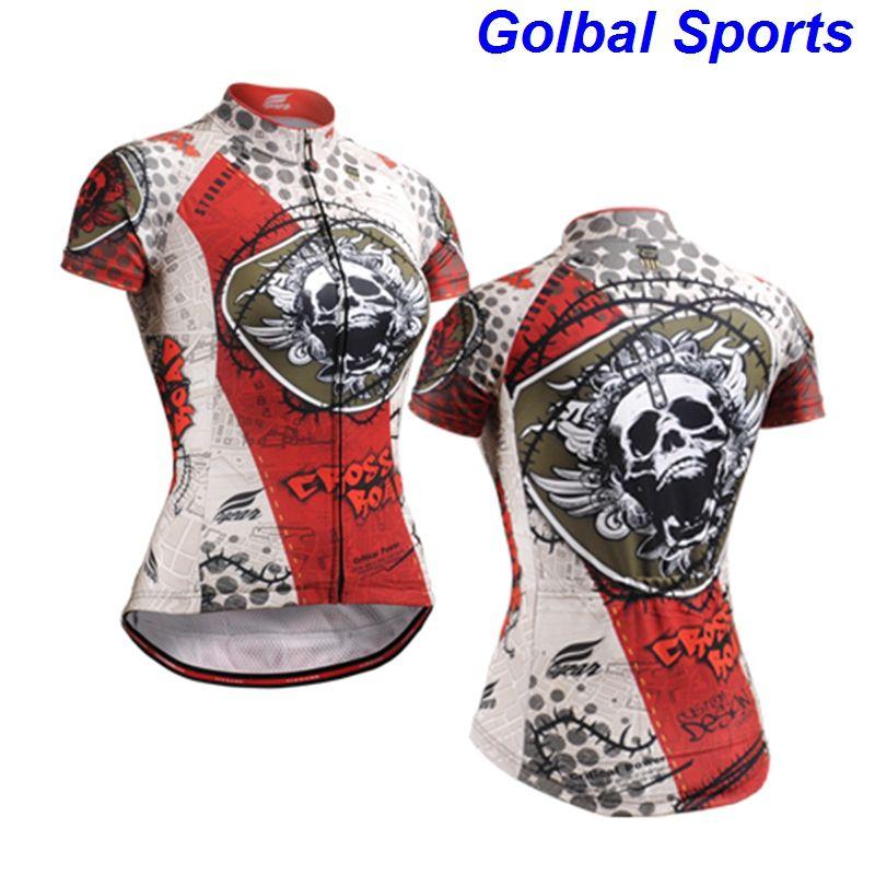 2020 mujeres forman la bicicleta de ciclo jerseys enfriar manga corta verano ropa de ciclo de la bici del cráneo impreso S-3XL