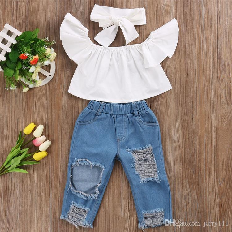 Verão bebê menina crianças conjunto de manga voador top + jeans rasgados calças denim + arcos Headband 3 pcs conjuntos de crianças roupas de grife meninas dhl jy352