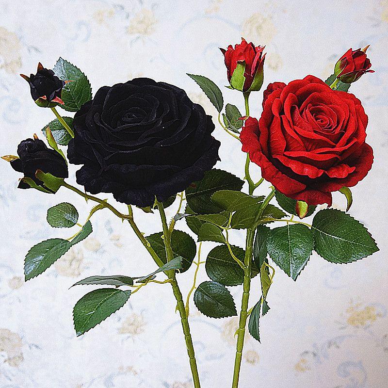 Luxe Black Rose Branch Velvet Simulation Fleurs Artificielles Valentine Cadeau Fleurs De Mariage Décoration de La Maison Roses Flores