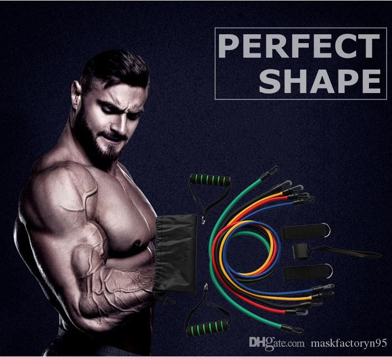 2021 Hot 11 stücke in 1 satz Fitness Widerstand Bands Übungsrohre Praktisches elastisches Training Seil Yoga Pull Seil Pilates Trainingskuppeln DHL
