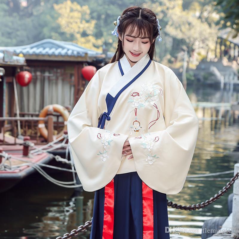 traje chino tradicional niñas Hanfu dulce bordado cruz doble cuello de la chaqueta Top + Skirt bordado cantonés alineada antigua