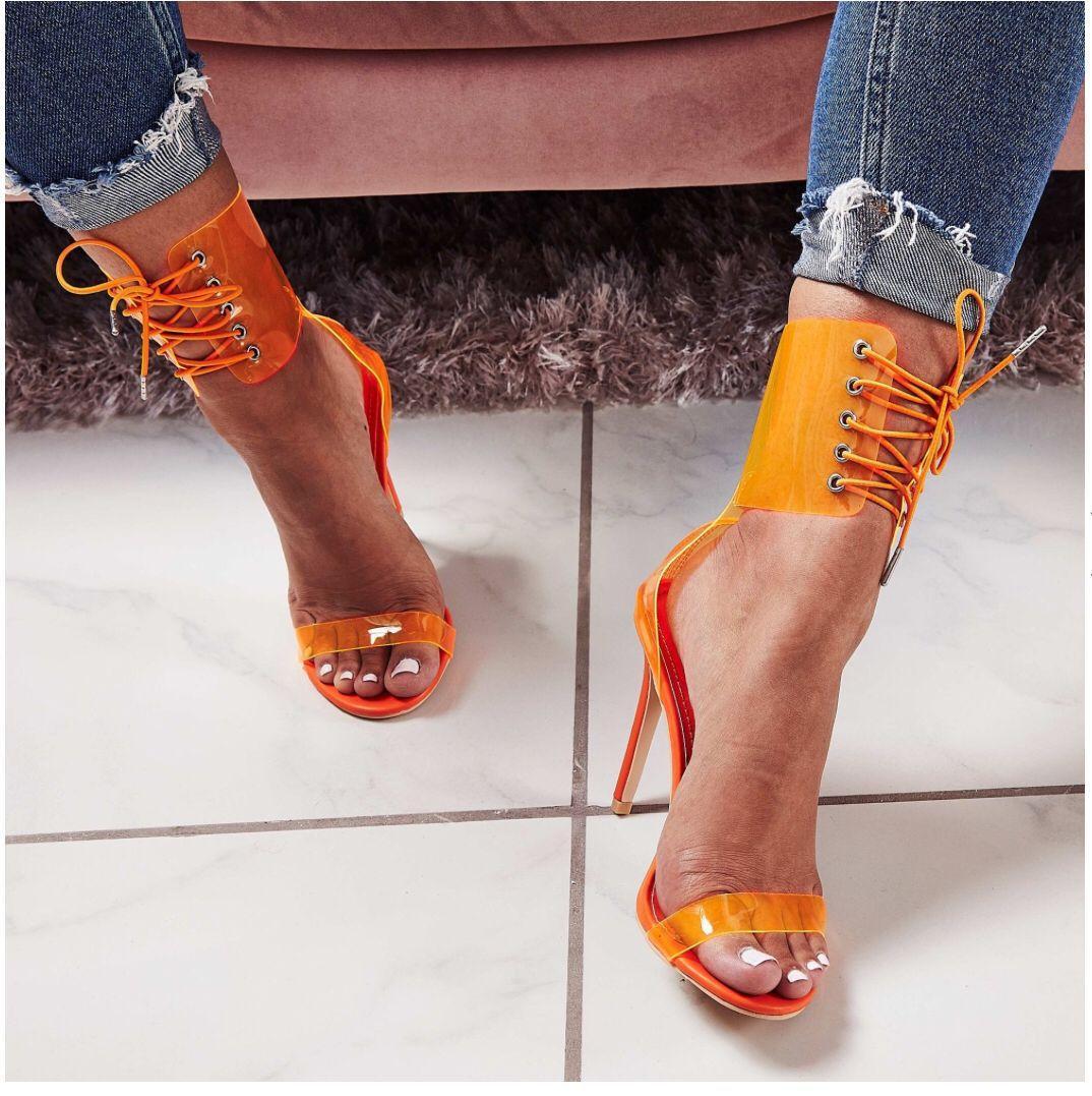 New PVC transparente sexy tornozelo sandálias salto stiletto lace-up de dedo aberto ocos 3 cores sapatos partido senhora grande porte 35-40