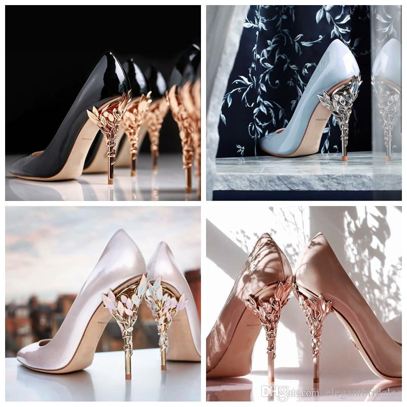 Floral Adorned High Heels Wedding Shoes