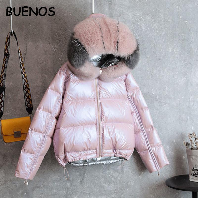 BUENOS Aşağı ceket kadın kısa kalın sıcak yeni gerçek tilki kürk yaka ceket iki taraf moda parlak gümüş pembe kış ceket T191108