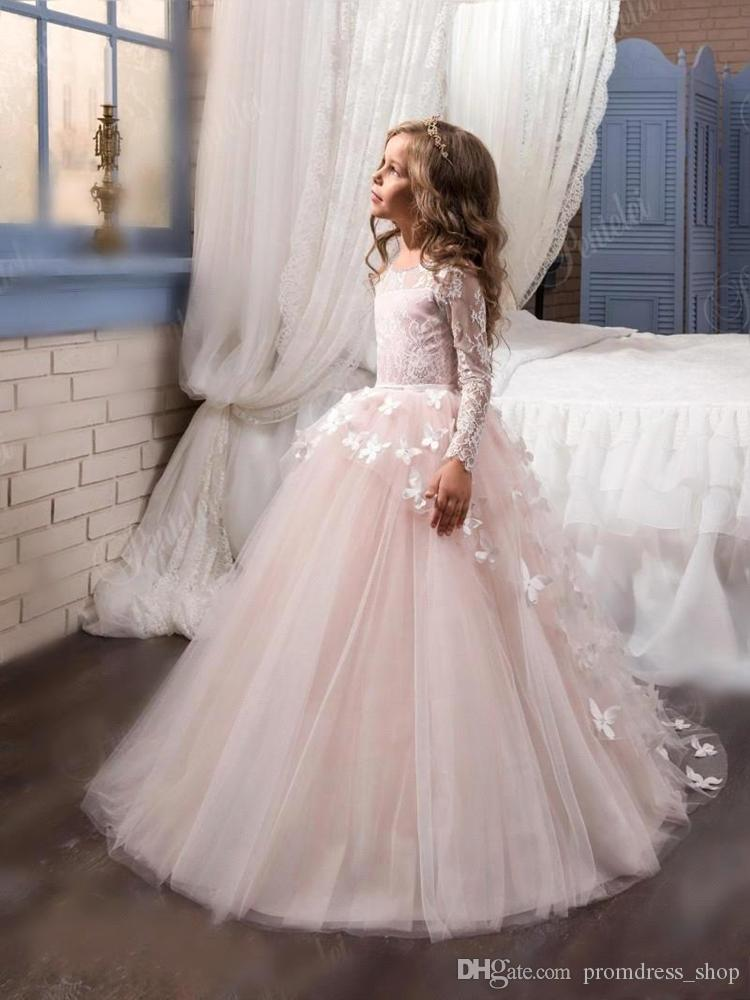 Lovely 2021 New Arrival Lace Flower Girl's Dresses Long Illusion Sleeves Jewel Neck Ball Gown Handmade Butterflies Girl's Pageant Dresses