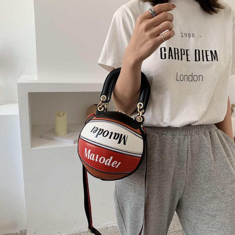 FANTASY 2020 Nouveau Style Conception spéciale PU Sacs À Main De Basket-ball pour les femmes à la Mode 7 Couleurs Splice Cool Ronde Messenger Épaule Sac