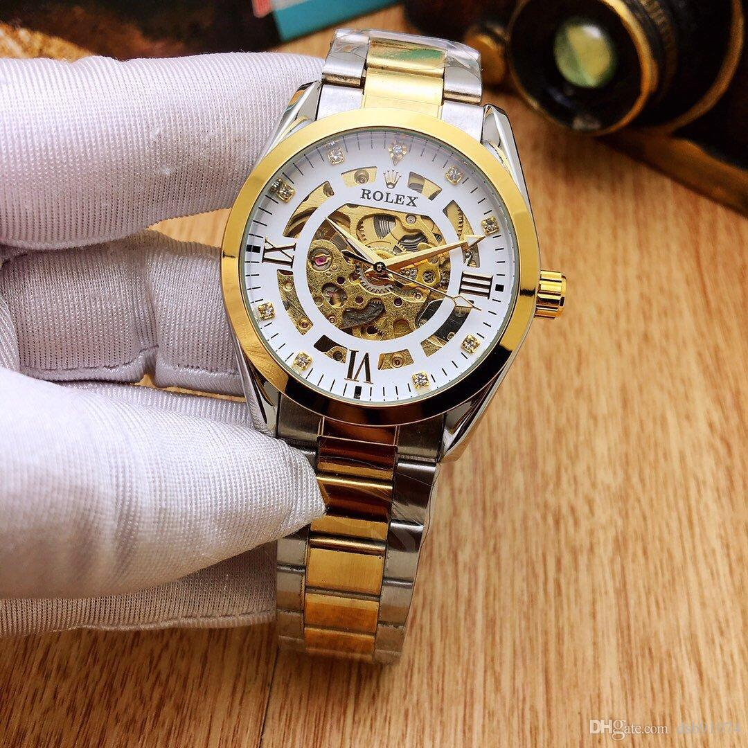 Fashion Hollow Inlaid Crystal Dial Business Men's Watch High Quality Stainless Steel Strap Waterproof Diameter 39mm Thickness 12mm Dial