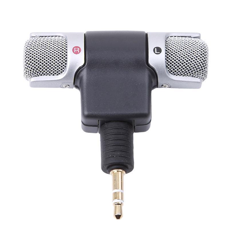 Mini microfono stereo per la registrazione del telefono mobile Studio Intervista Mic 3.5mm Jack PC portatile Notebook Sinistra e Destra