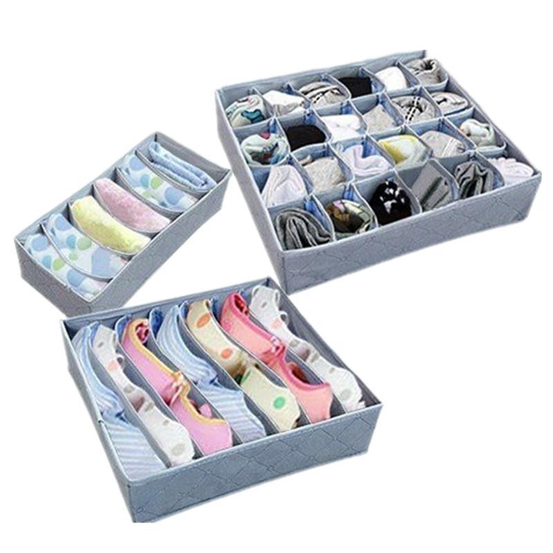 No tejido 24/7/6 Cuadrícula Divisor plegable Organizadores de caja de almacenamiento Para ropa interior Bufandas Calcetines Sujetador Varios cuadrícula corbata calcetines contenedor