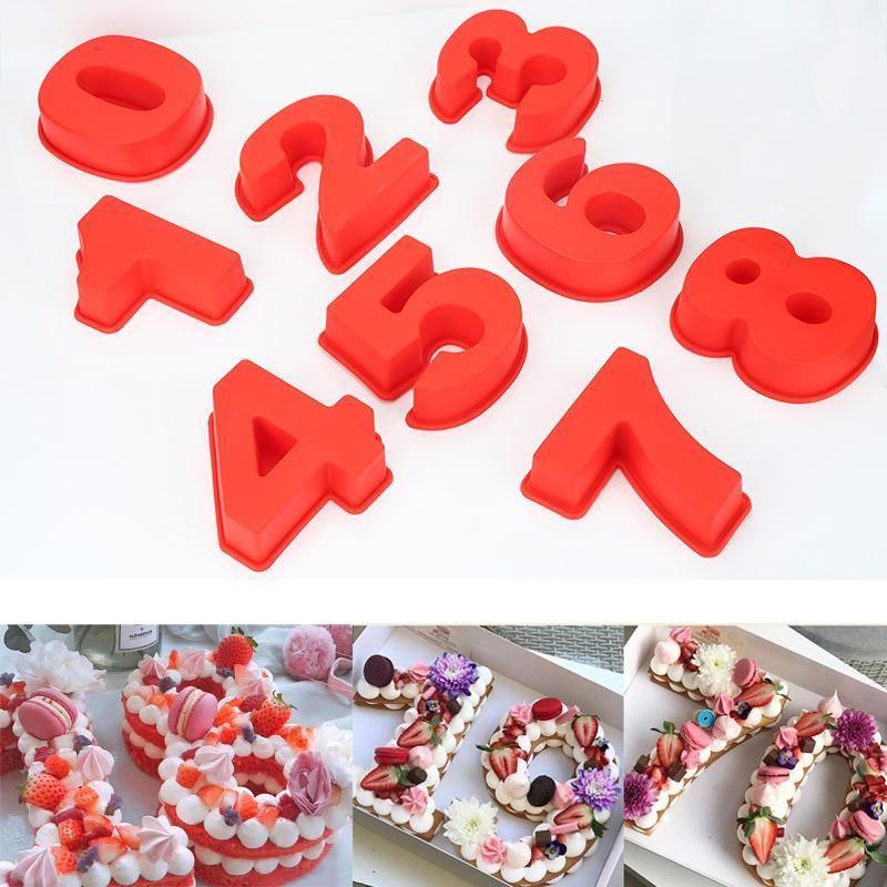 Silikon-Digital-Kuchen-Form Diy 0-9 Anzahl Formen Kuchen Zahlen Form-Kuchen-Dekoration-Werkzeug für Hochzeit Geburtstag Jahrestag LXL1375