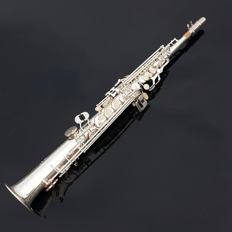 Yeni Geliş Düz Boru Soprano B (B) Saksafon Yüksek Kalite Pirinç İnci Düğmeler Gümüş Kaplama Müzik Aletleri Sax ile Ağızlık Kılıf