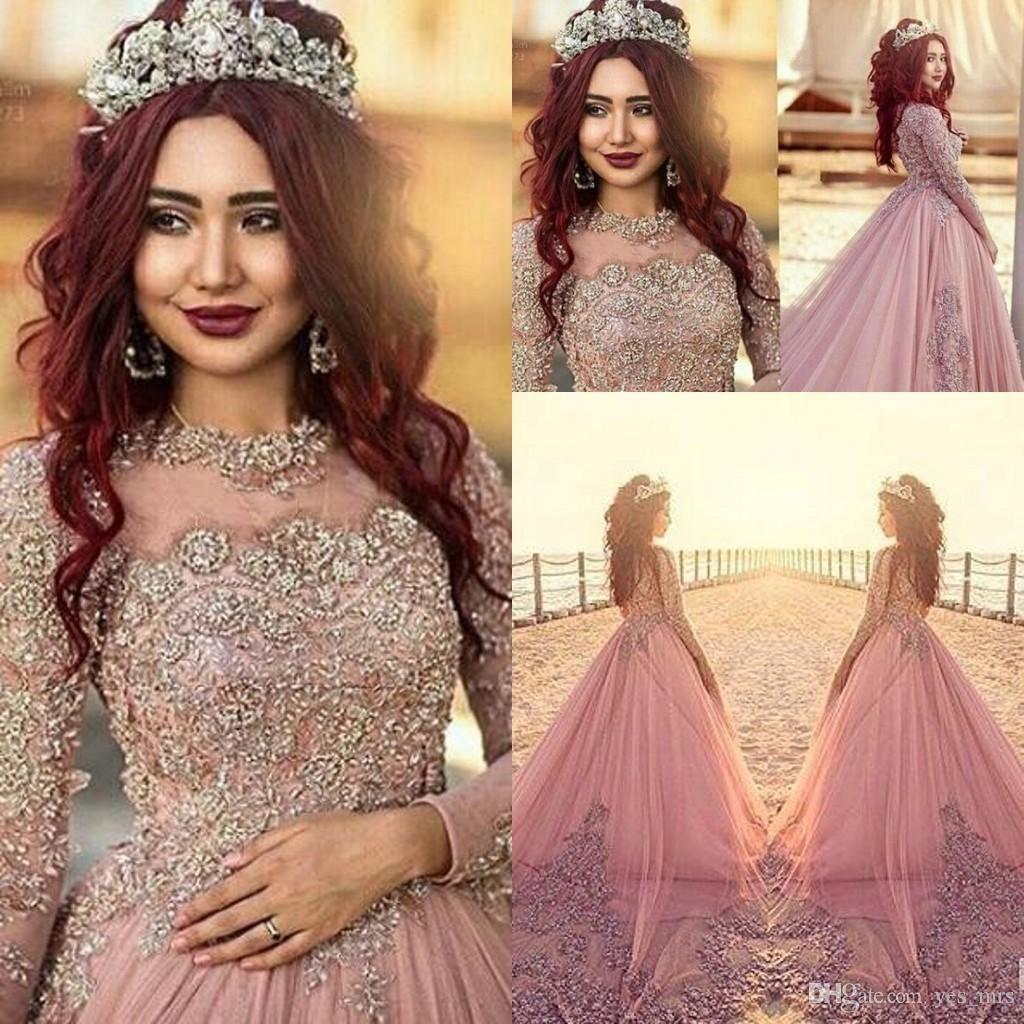 Arabo palla abito da sposa gioiello del collo Plus Size Lace Maniche Applique lunghi di cristallo di Tulle Corte treno Abiti da sposa Formal