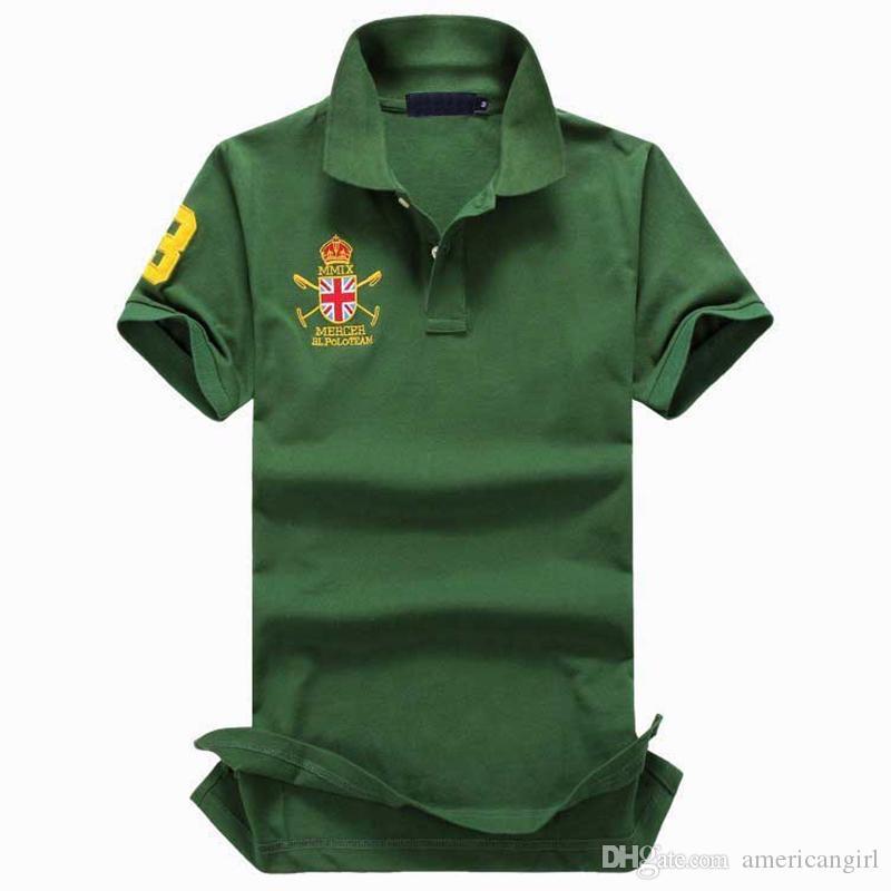 TAMAÑO DE LOS ESTADOS UNIDOS camisetas con bordado logotipo del caballo grande diseñador de manga corta camiseta casual de negocios
