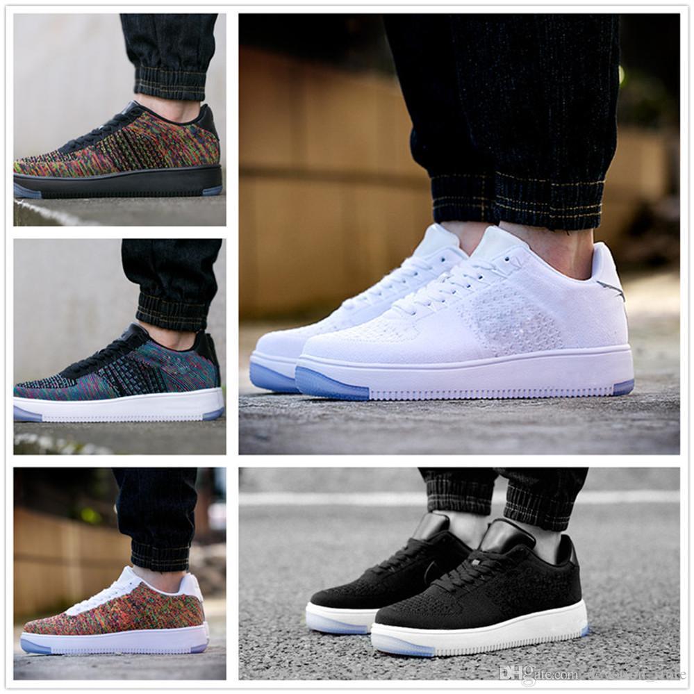 Nike air max force fly 2019 tênis de corrida quente clássico todos os altos e baixos branco preto trigo homens mulheres tênis esportivos moda sapatos de skate tamanho 36-45