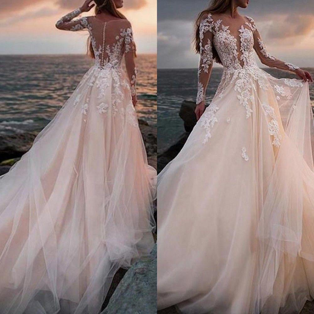 2020 sexy di Champagne abiti da sposa Una linea Keyhole lunghe maniche gioiello collo puro Beach Boho Lace Appliques floor-lunghezza Abiti da sposa Formal