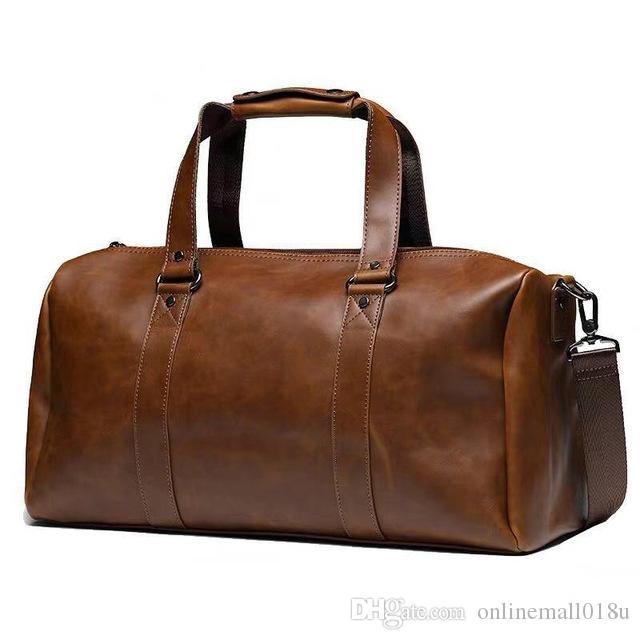 NUEVO Cuero Viajes Caballo PU Cuero Hombres Bolsas de Loba Luggage Menores L Crazy Menores Viajes Bolsos Vintage Bolso Fin de semana Artnq
