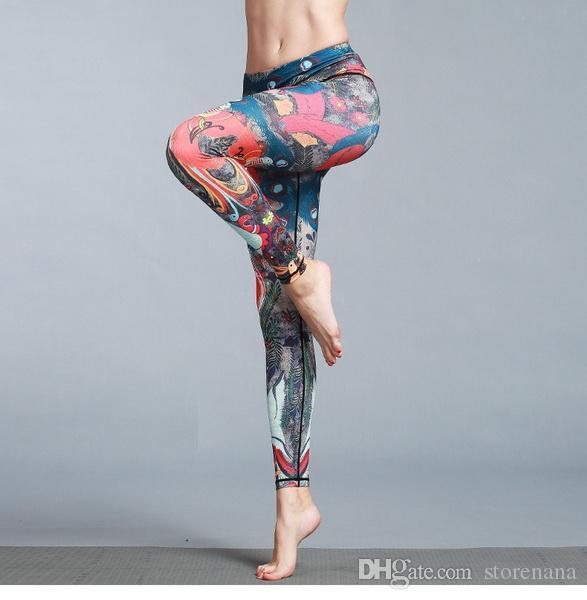 2019 nouvelles pantalons de yoga pour dames running pantalon imprimé coloré séchage rapide stretch stretch fit fitness sportsDragon Fit contraste pantalon