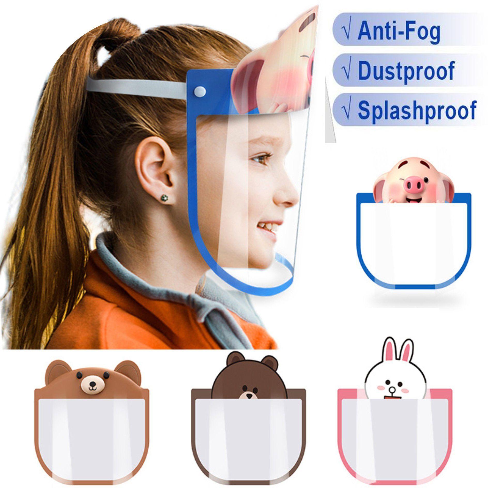 DHL Frakt Pet Kids Cartoon Face Shield Safety Chidren Protective Mask Cover Anti-Fog Anti-UV Transpartent Facial Mask för Boys Girls