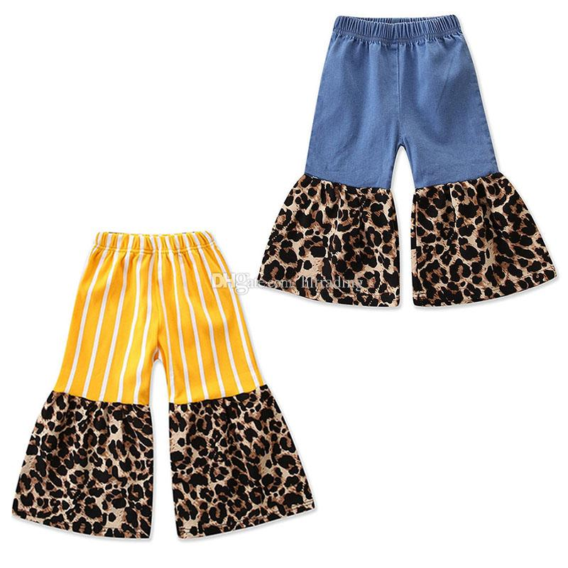 Kids Leopard stripe pants 2019 Spring Autumn Fashion children Flare pants baby girls INS Trousers 2 colors C6445