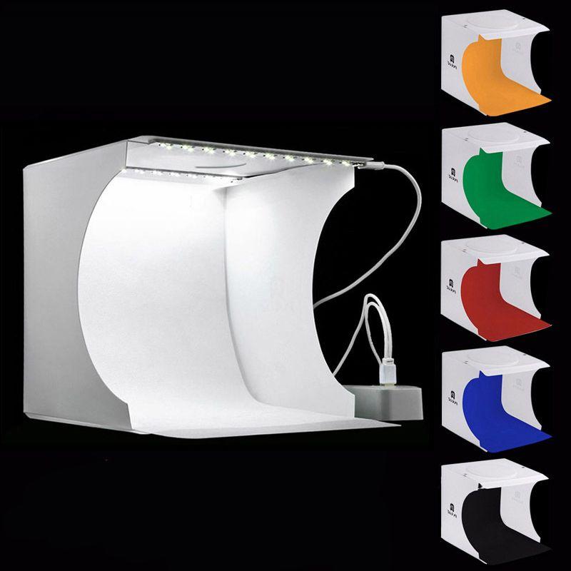 Taşınabilir Katlanır Lightbox Fotoğraf Fotoğraf Stüdyosu Softbox 2 Panel LED Işık Yumuşak Kutu Fotoğraf 6 DSLR Kamera Için Arka Plan Kiti Işık Kutusu