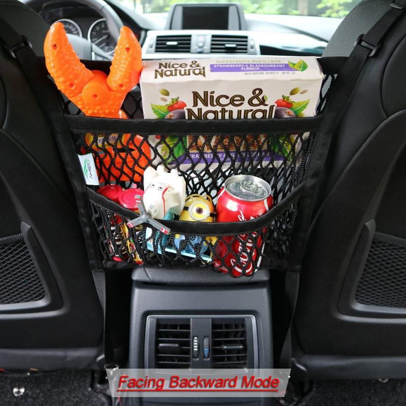 and Pet Barrier from Back Backseat Pockets for Kids Toys Mesh Car Organizer with Pocket for Between Seats Storage: Cargo Nets for Cars Front Seat Net Organizers Behind Console Black 1 Pack
