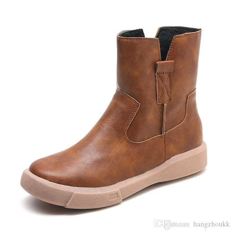 2019 novas botas de inverno e sapatos femininos PU cabeça redonda primavera de borracha tubo curto manga de fundo plano mulheres botas botas mulheres