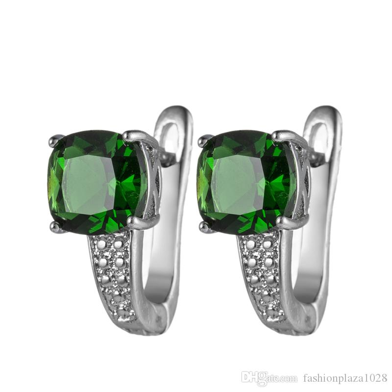 Luckyshine Europe popular Green Quartz Square Earrings Silver Womens Wedding Prom Party Drop Earrings Zircon For Holiday Gift