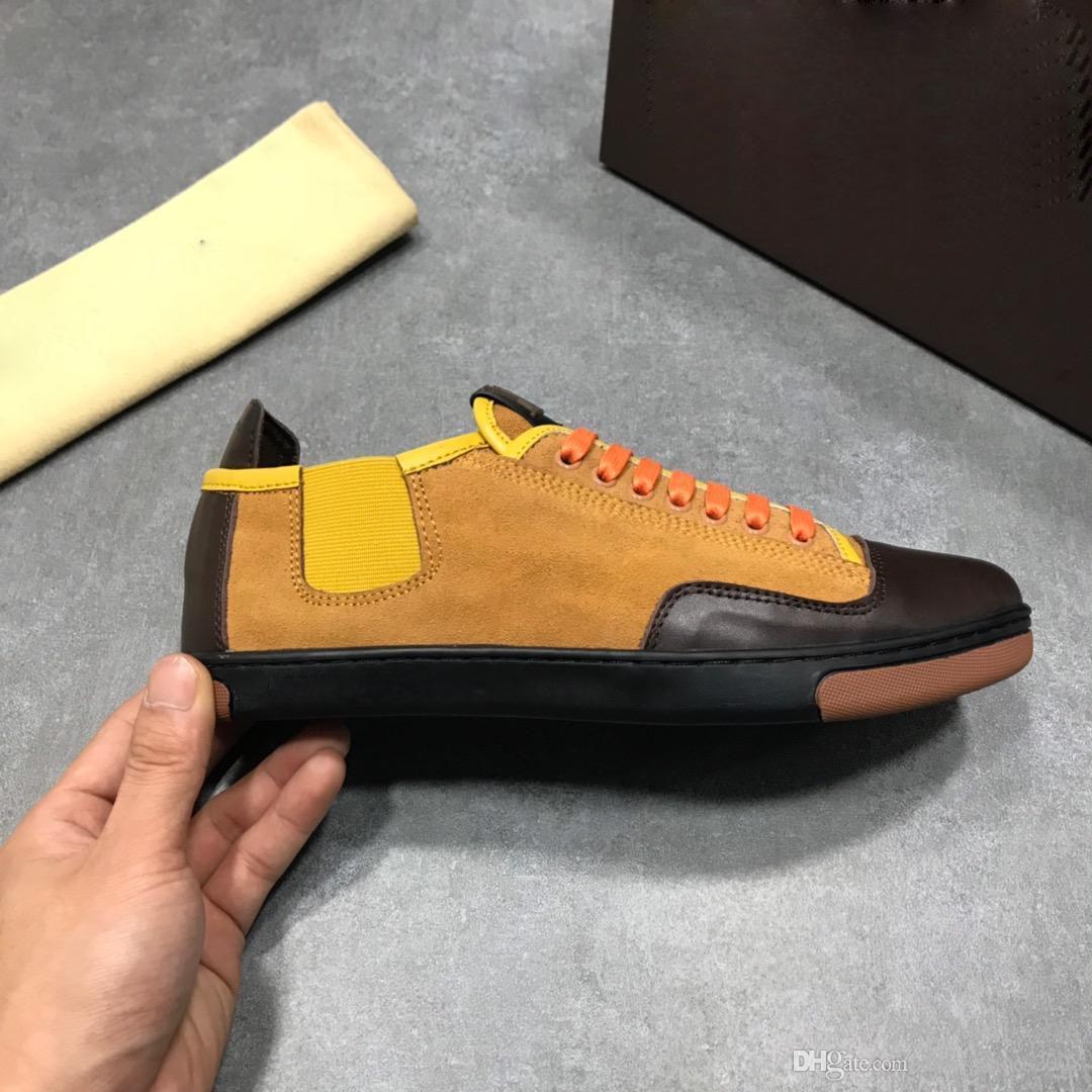 sapatos logotipo qualidade top designer de couro real luxuoso do homem Homens e mulheres Sapatilhas Casual com tamanho de caixa de 38-45
