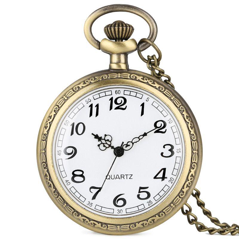 Bronze Montre De Poche Rétro Vintage Quartz Analogique Montres Collier Chaîne Montres Cadeau pour Hommes Femmes Reloj de bolsillo