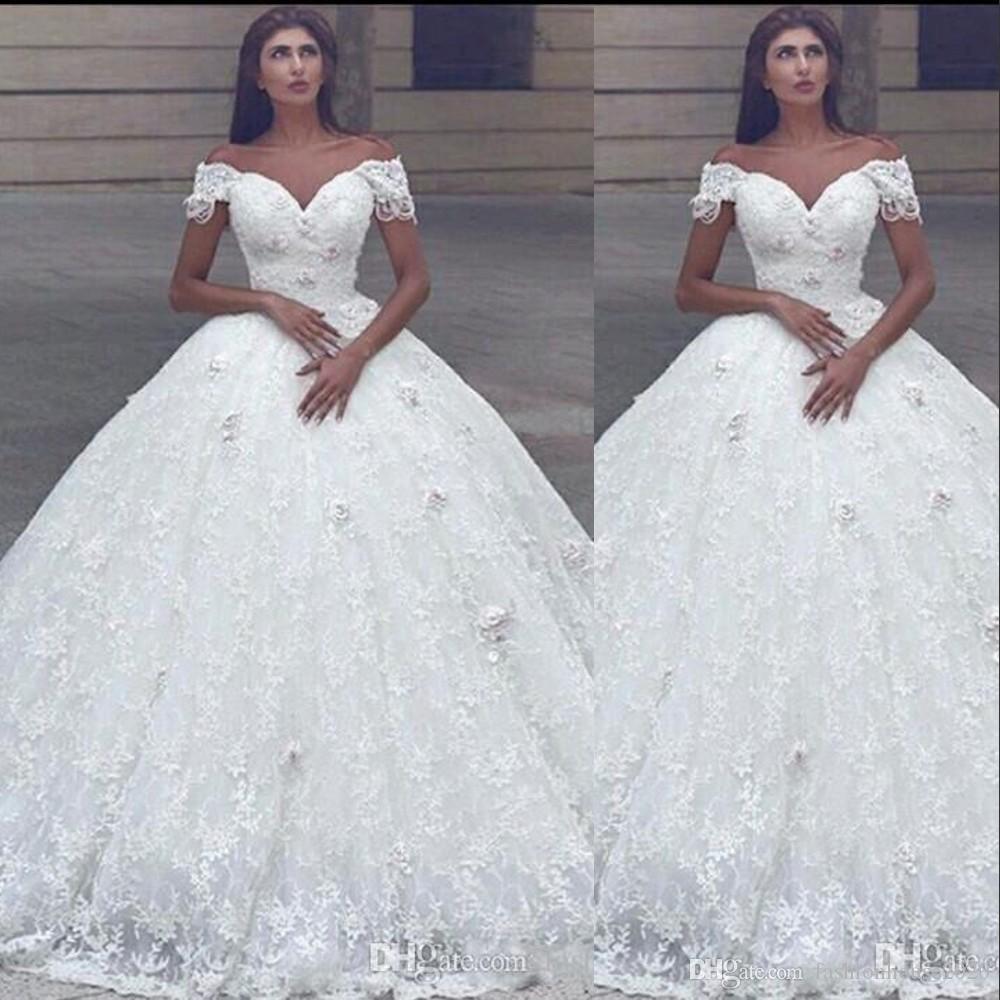 Nouvelle arabe bal robe de mariage Encolure 3D Fleurs de dentelle perles princesse longueur de plancher Puffy Plus Size formelles Robes de mariée