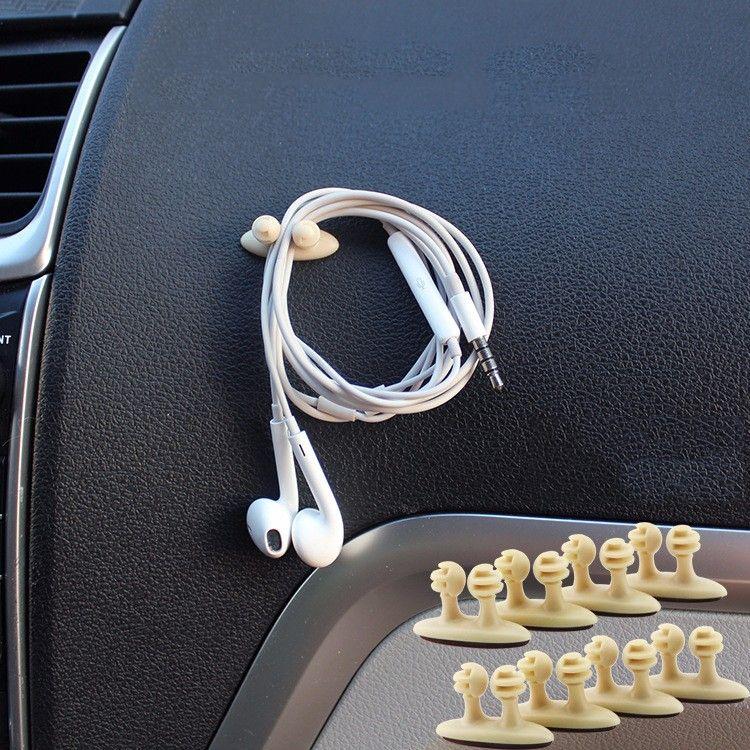 8Pcs Adhesive Headphone USB Charger Line Auto Multi-purpose Fastener Clip Black