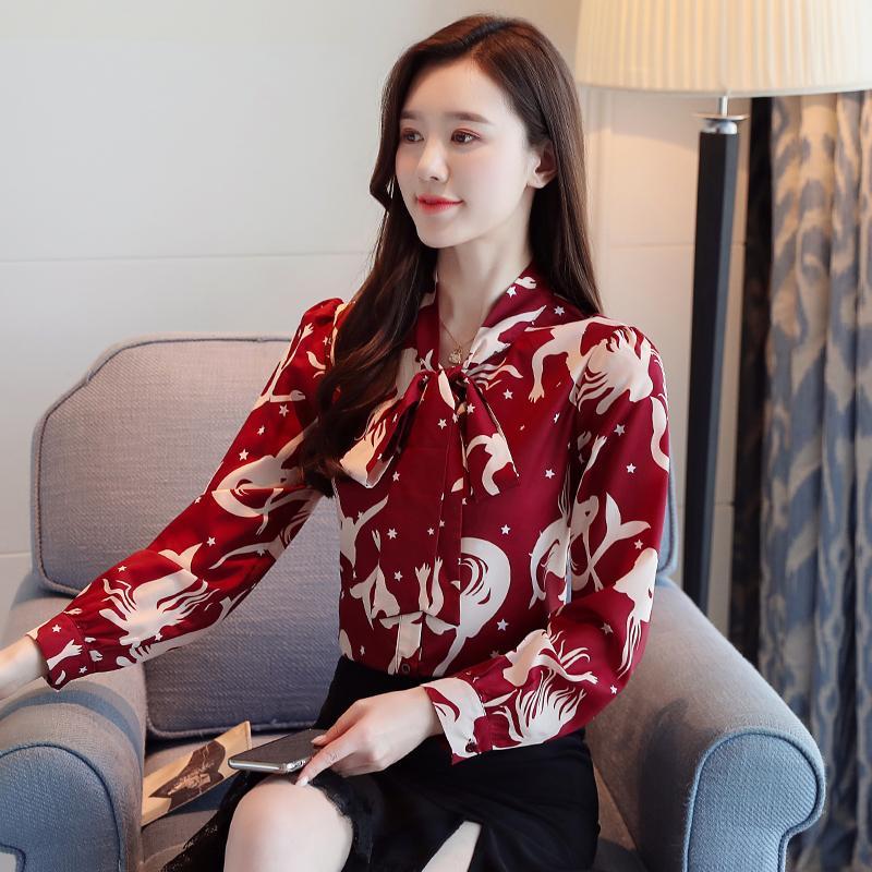 Fashion Spring Red Slim Women Tops and Blouses Long Sleeve Print Chiffon Ladies Shirts Blusas Mujer De Moda 2020 Bow 8372 50