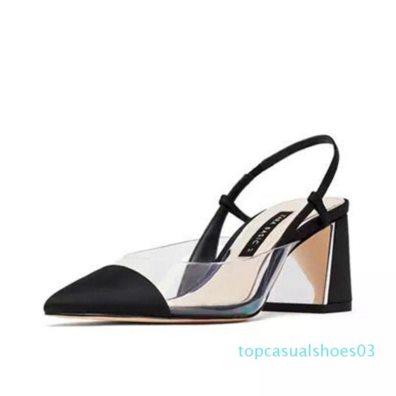 2020 nuevos zapatos de las mujeres del verano señalaron las sandalias transparentes gruesas sandalias respirable cómodo salvajes. t03