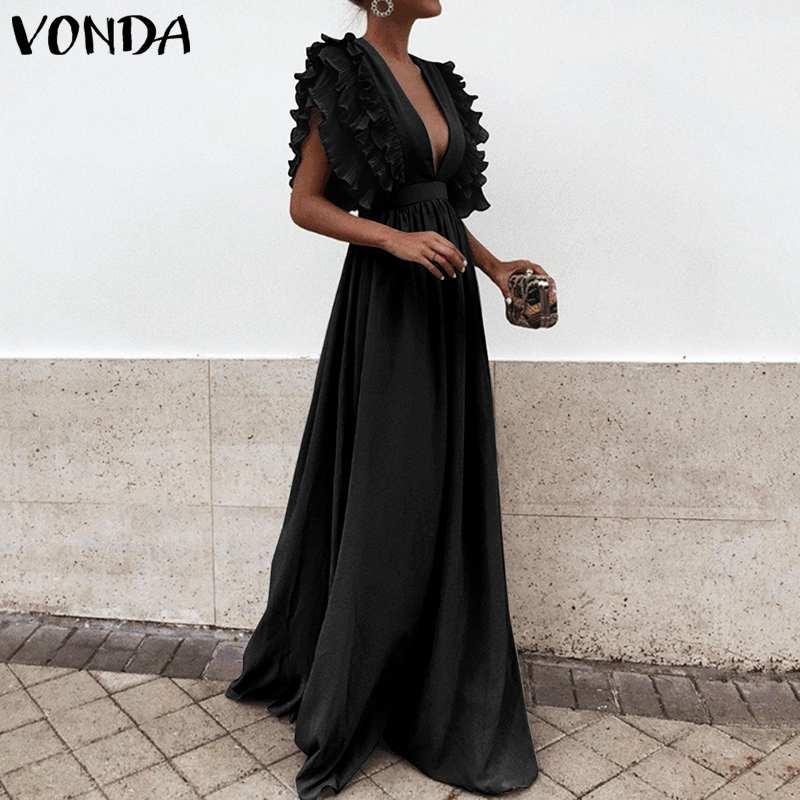 Party Sundress Beach Summer Dress V-Neck Butterfly Sleeve Ruffled Maxi Long Dress 2020 VONDA Plus Size Vestidos Femininas S-5XL